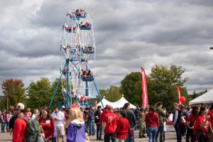 A cool fall day and party sunny sky create the perfect backdrop for Big Red Fan Festival fun.