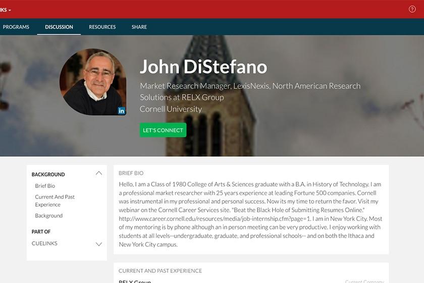 The CUeLINKS bio of John DiStefano '80