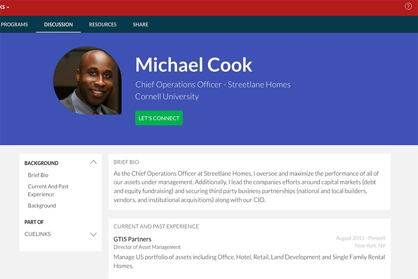 The CUeLINKS bio for Michael Cook '02, MBA '07