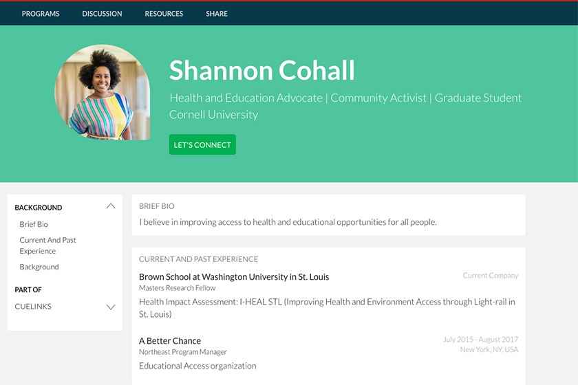 CUeLINKS profile for Shannon Cohall '14