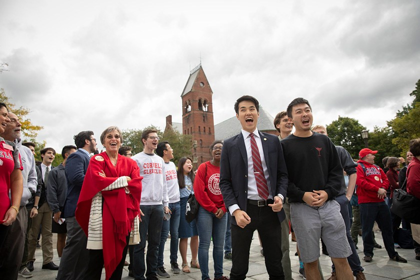 "Members of the Cornell University Glee Club sing ""Happy Birthday"" to the Cornell Chimes."