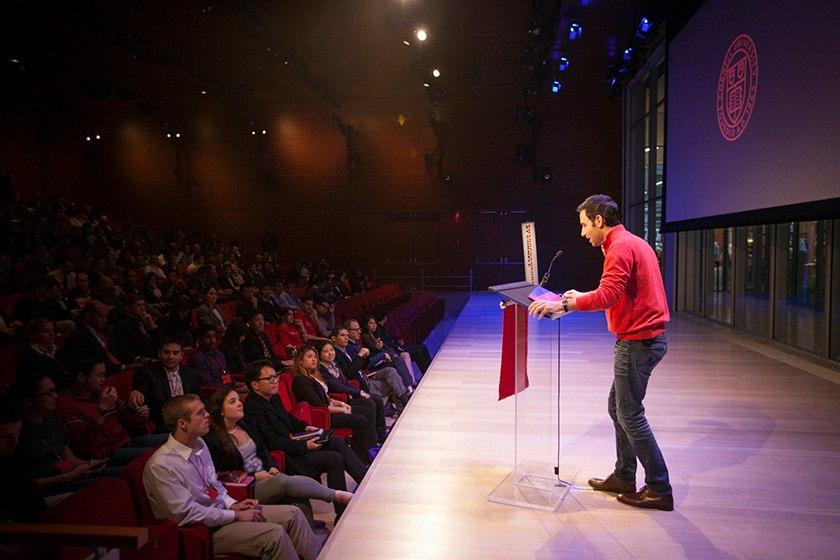 Scott Belsky '02 speaks on stage at the Entrepreneurship at Cornell's Summit in New York.