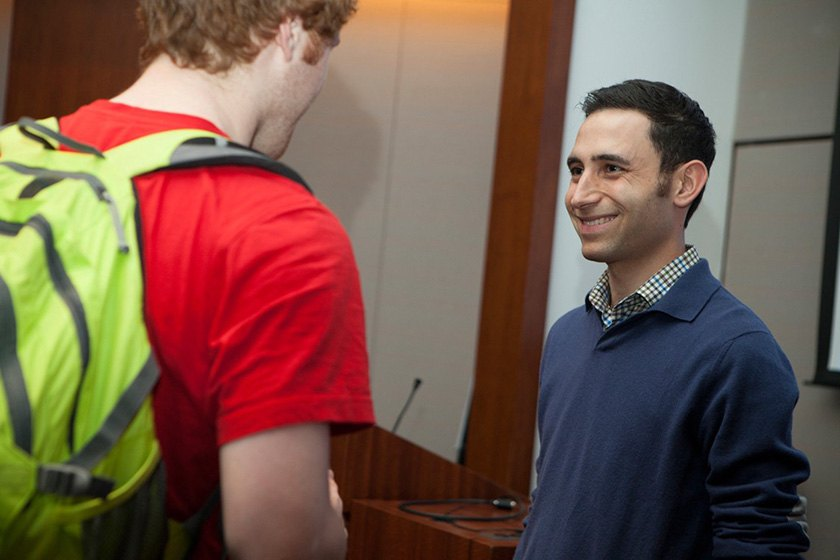 Scott Belsky '02 speaks to Cornell students.