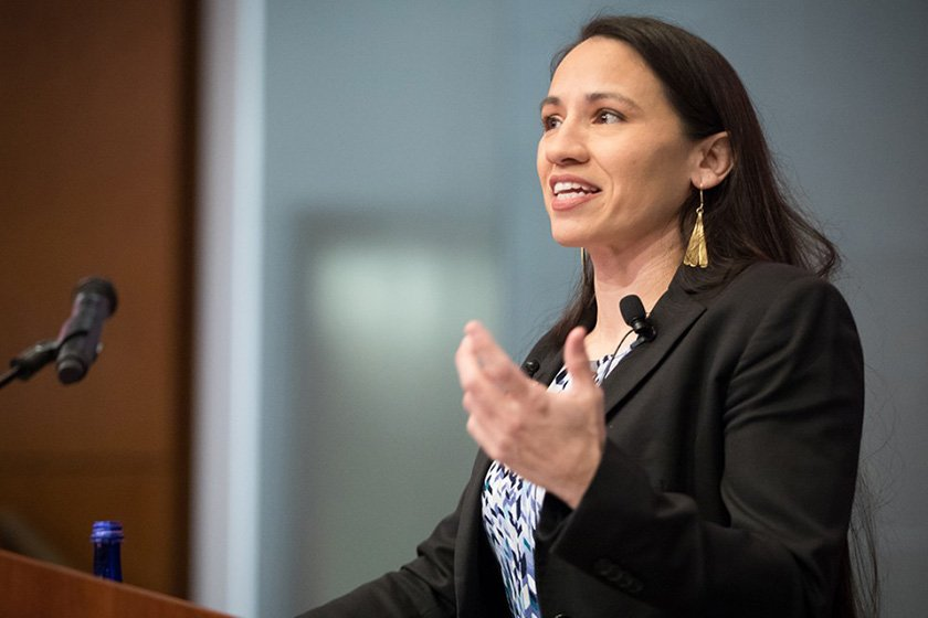 Sharice Davids JD '10, speaking