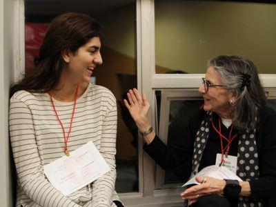 Amira Walia '22 and Alice Katz Berglas '66, a life member of the Cornell University Council, get to know one another.