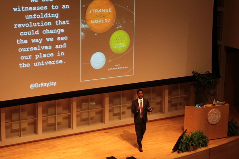 Ray Jayawardhana, Harold Tanner Dean of Arts & Sciences, gives the keynote address on the Statler Auditorium stage..
