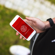 Mobile phone with Cornell Unversity seal background