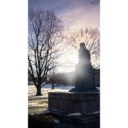 Ezra Cornell statue on a winter day