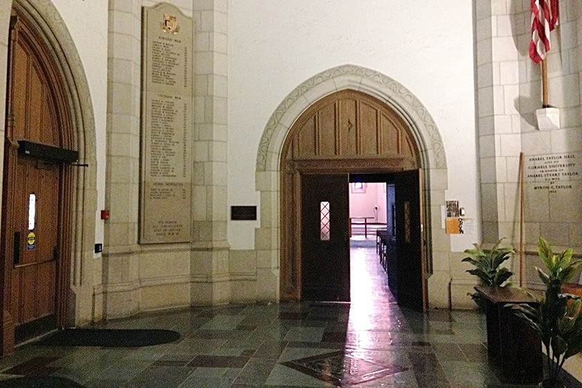 The war memorial in Anabel Taylor Hall.