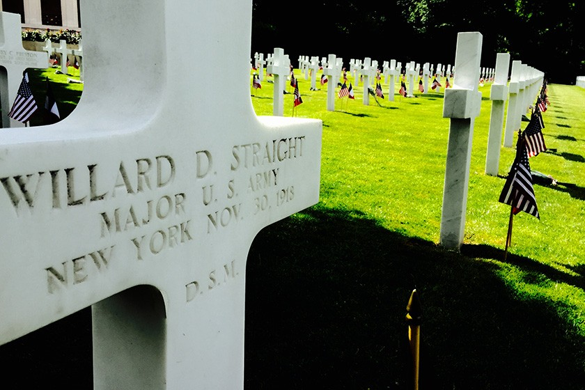 The grave of World War I veteran Willard D. Straight, Class of 1901, for whom Willard Straight Hall is named, in the Suresnes American Cemetery in France.