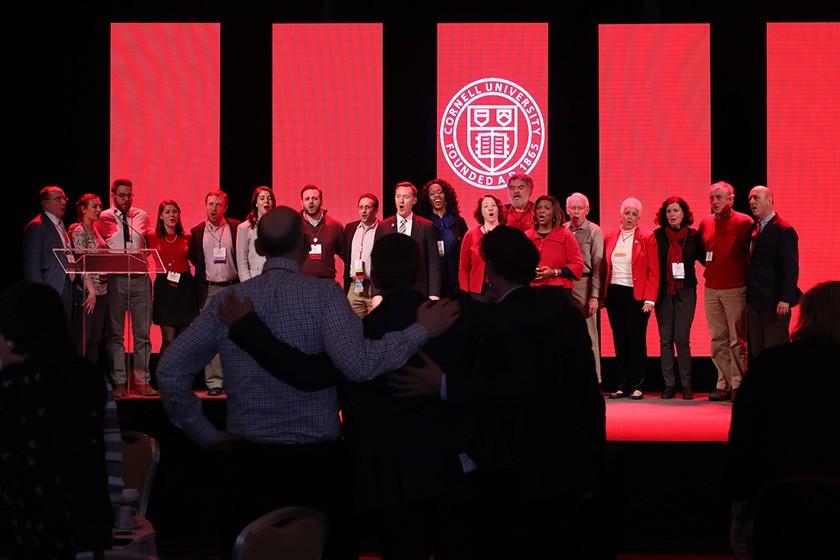 Alumni sing the alma mater at CALC 2018.