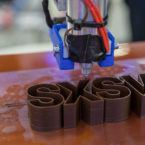 "A 3-D printer creating block letters: ""SXSW"""