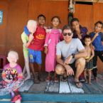 Oliver Campbell '82, MEng '84 with a grounp of young people in Indonesia