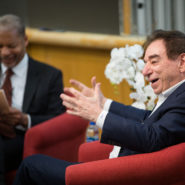 Dr. Leonard Schleifer '73, the 2019 Cornell Entrepreneur of the Year, talks with Lance Collins, the Joseph Silbert Dean of Engineering, April 11.