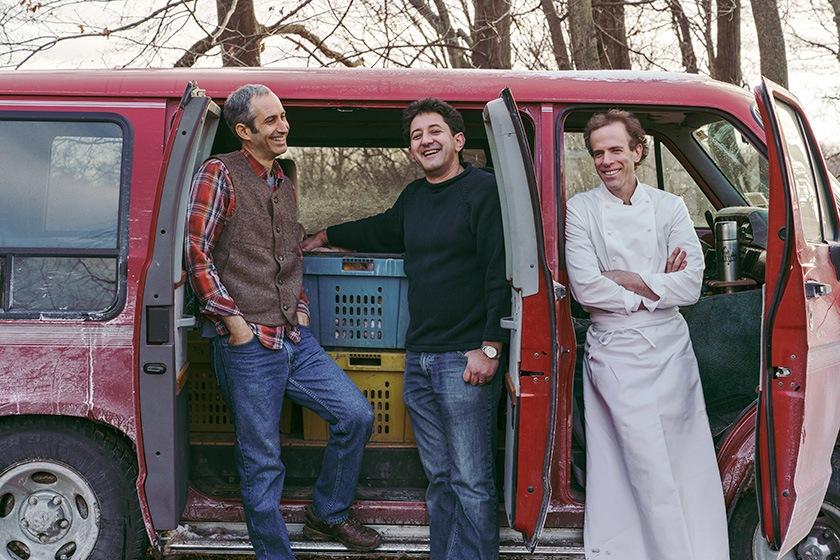 Seedsman Matthew Goldfarb, breeder Michael Mazourek, and chef Dan Barber.