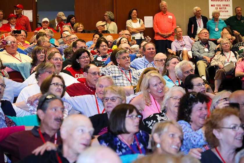 The audience singing at Peter Yarrow's concert.