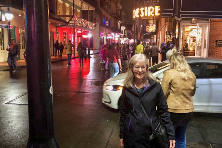 Elizabeth Bauman on Bourbon Street in New Orleans