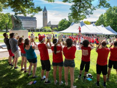 The Big Red Band playing on the Arts Quad during Reunion