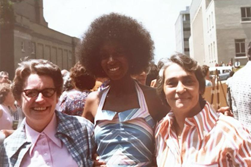 Cynthia Cuffie in 1974 with two of her professors