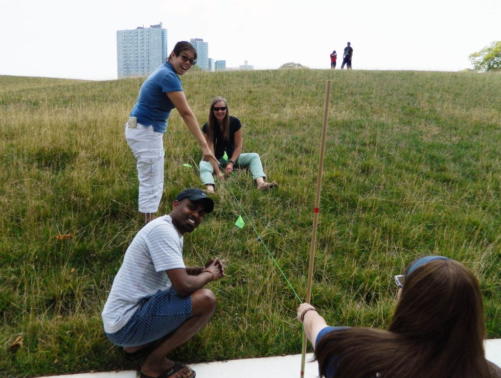 A sea level activity at a TFGCC professional development workshop in summer 2018. The workshop included a tour and activities at the Cornell Tech campus.