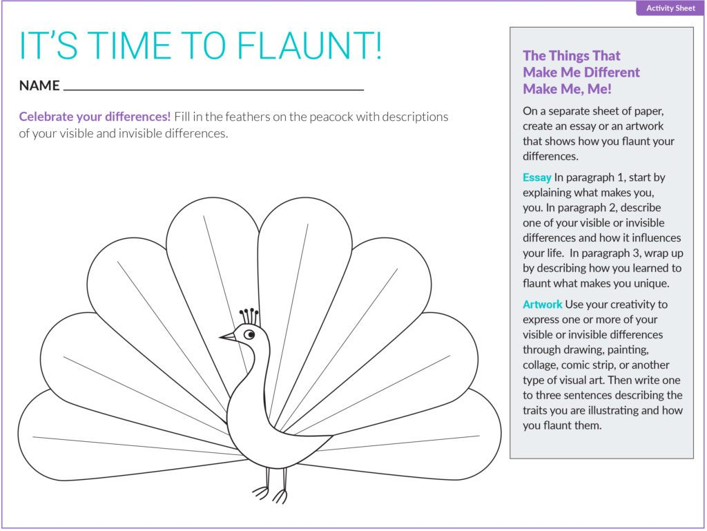 """It's time to flaunt!"" activity sheet for kids."