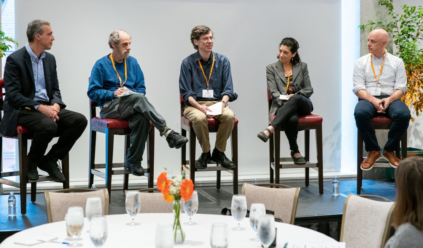 Cornell CIS panelists (from left to right): Moderator Dan Huttenlocher; Paul Ginsparg MS '81, PhD '81; Jon Kleinberg '93; Deborah Estrin; and Chris Ré '02, MEng '03