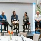 Cornell CIS panelists (from left to right): Moderator Dan Huttenlocher; Paul Ginsparg MS '81, PhD '81; Jon Kleinberg '93; Deborah Estrin; and Chris Ré '02, MEng '03