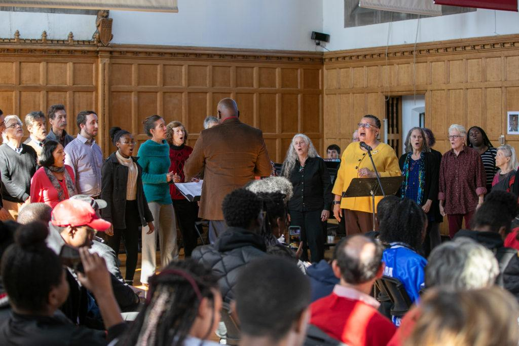 The Dorothy Cotton Jubilee Singers perform during the plaque unveiling and dedication ceremony. Photo by Chris Kitchen