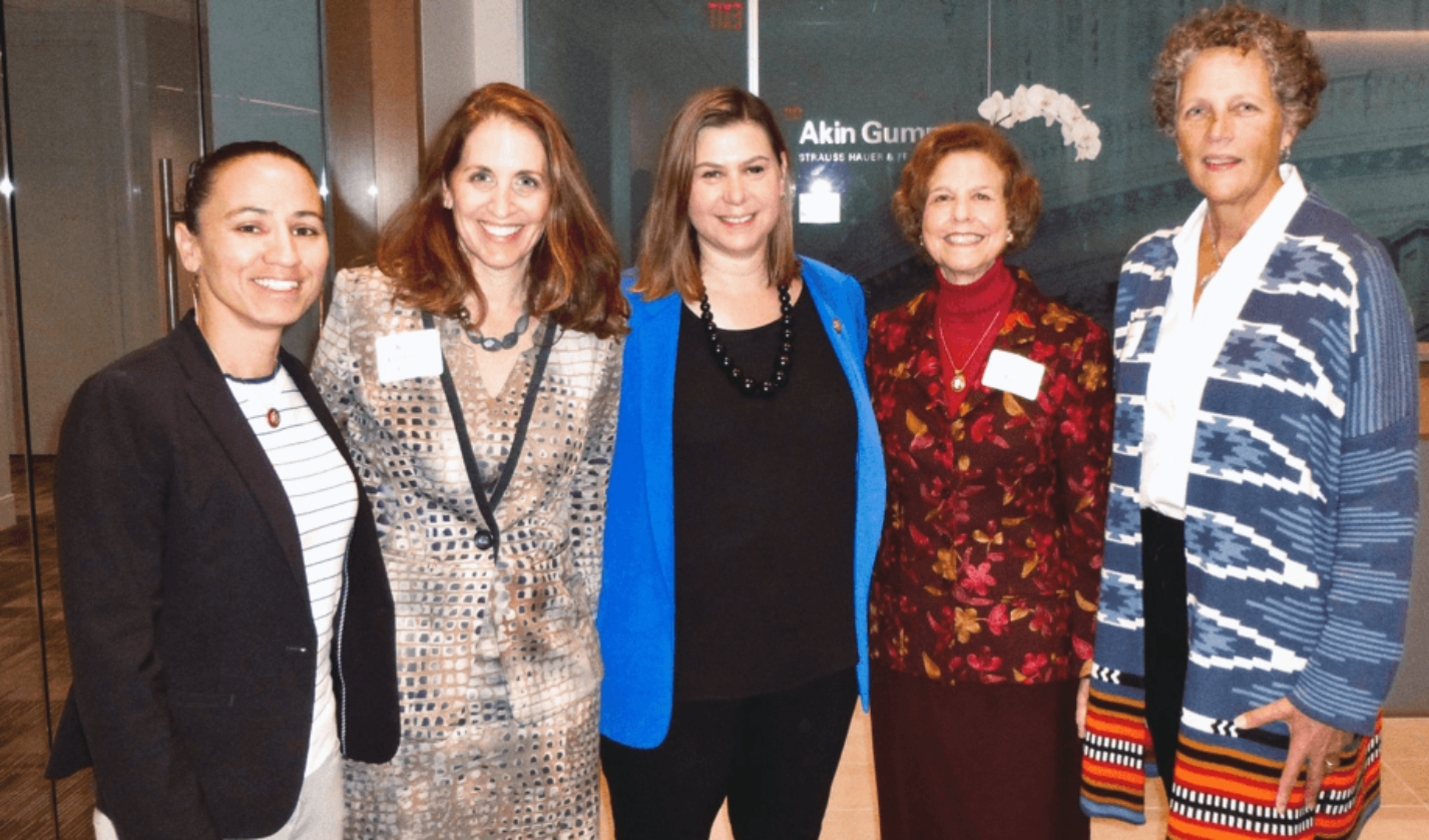 Congresswoman Sharice Davids '10 (far left) and Congresswoman Elissa Slotkin '98 (center) with co-hosts Karen Green '87, Eileen Mason '64, and Margie DeBolt '76.