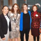Congresswoman Sharice Davids '10 (far left) and Congresswoman Elissa Slotkin '98 (center) with co-hosts Karen Green '87, Eileen Mason '64, and Margie DeBolt '76.