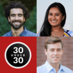 Five Cornell Forbes 30 Under 30 listmakers participated in a digital event on January 30, 2020. Top row from left to right: Sharon Li PhD '17, Gabe Kennedy '14, Nikita Gupta '17. Bottom row from left to right: Erica Barnell '13, Alexander Fotsch '12.