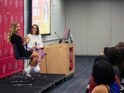 Hayley Paige '07, head designer and creative director, Hayley Paige, told moderator Stephanie Cartin '06 about how her dream of becoming a bridal designer became a reality.