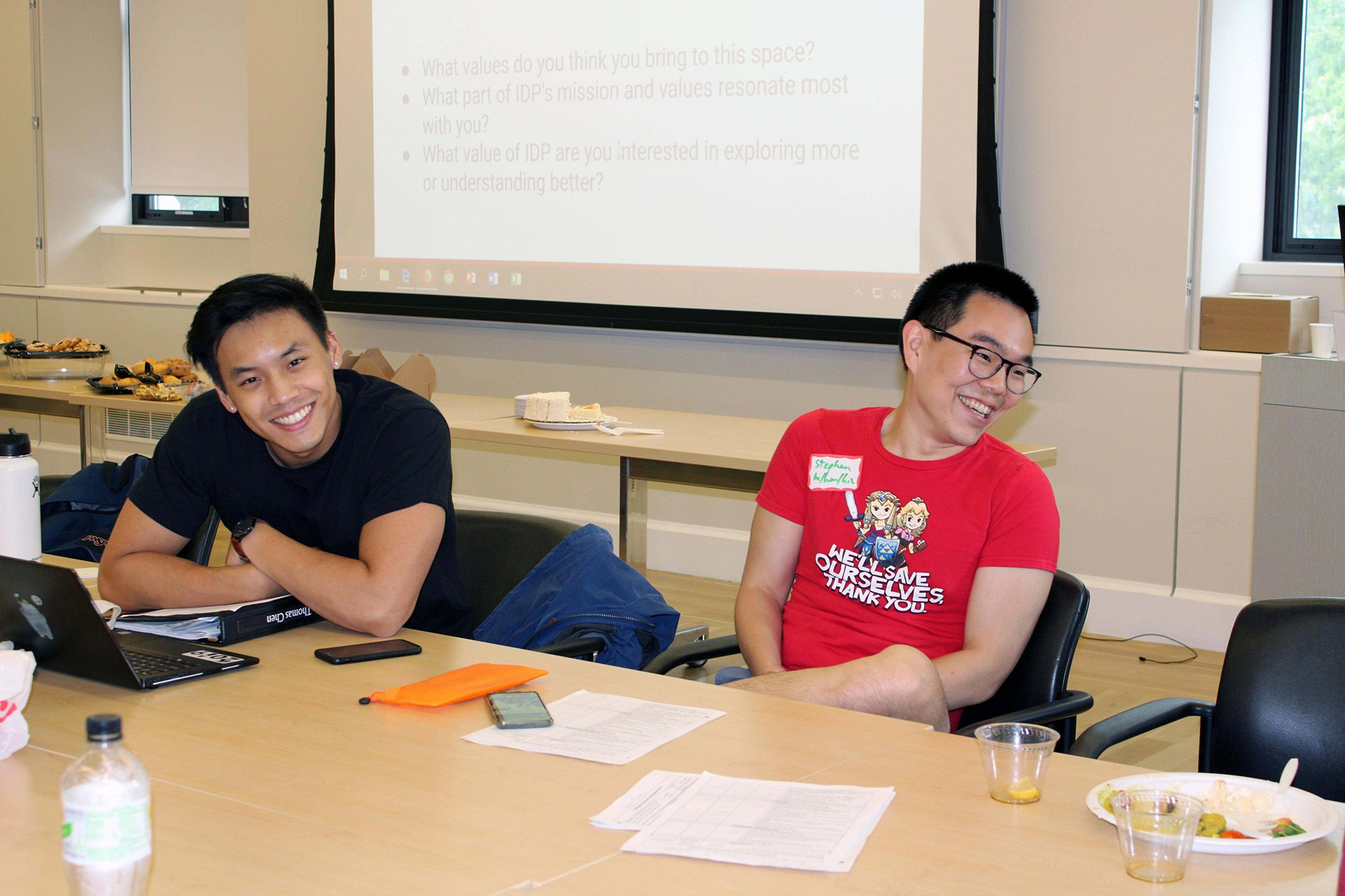 Reflecting on values during facilitator training in fall 2019. (L to R) Tom Chen '19, MEng '20; Stephen Kim, PhD candidate