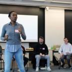 Jum Warritay energizes the group during facilitator training in spring 2020. (L to R) Jazlin Gomez Garner '16, MPA '18; Jum Warritay PhD '17; Owen MacDonnell '20; Christian Hall '20; Zara Schrieber '21