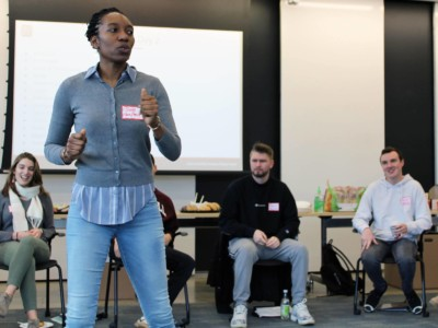 Jum Warritay energizes the group during facilitator training in spring 2020. (L to R) Jazlin Gomez Garner '16, MPA '18; Jum Warritay PhD '17; Owen MacDonnell '20; Christian Hall '20; Zara Schrieber '21