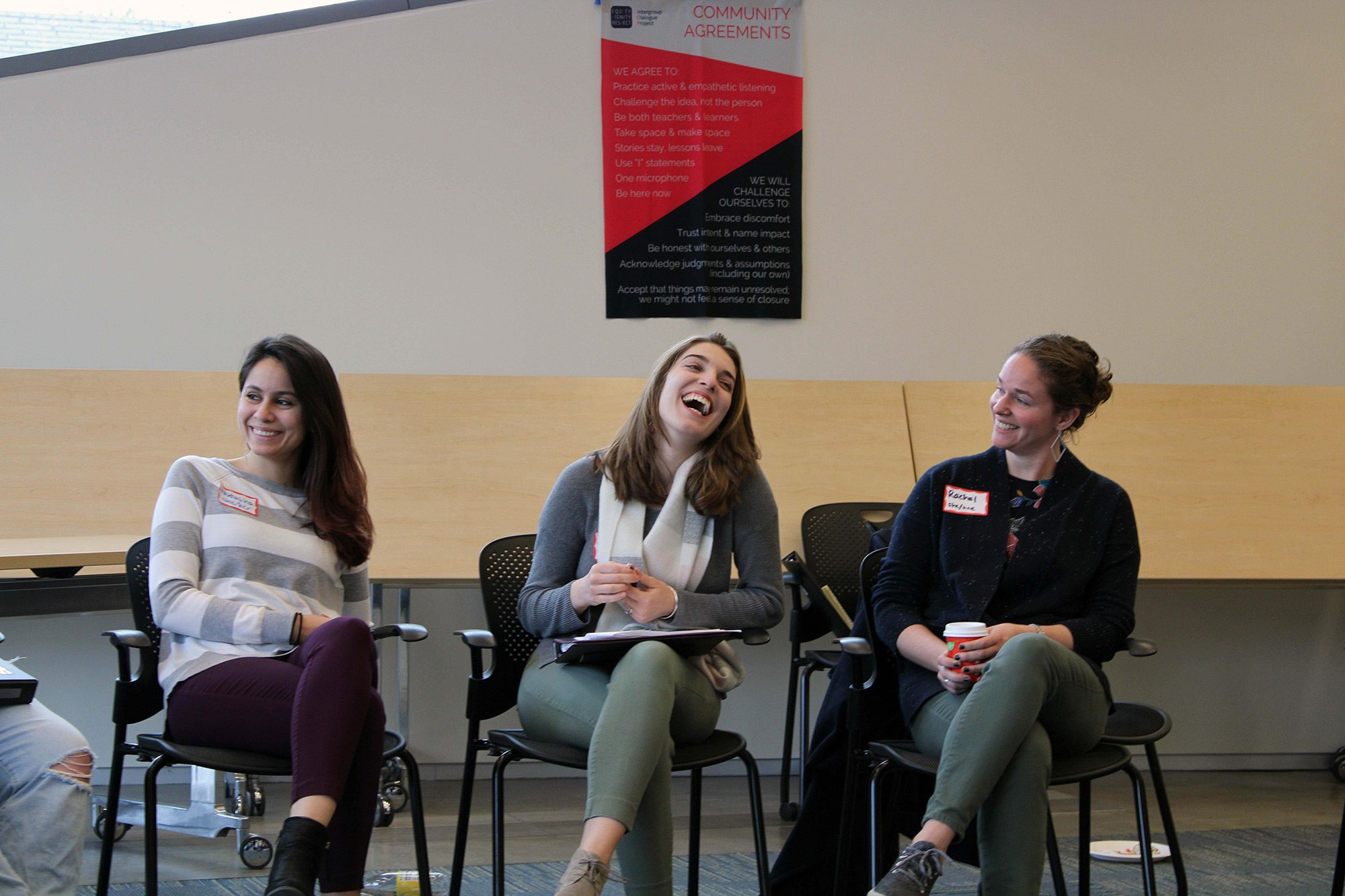 Talking about body language during facilitator training in spring 2020. (L to R) Natasha Steinhall '14; Jazlin Gomez Garner '16, MPA '18; Rachel Sumner PhD '15