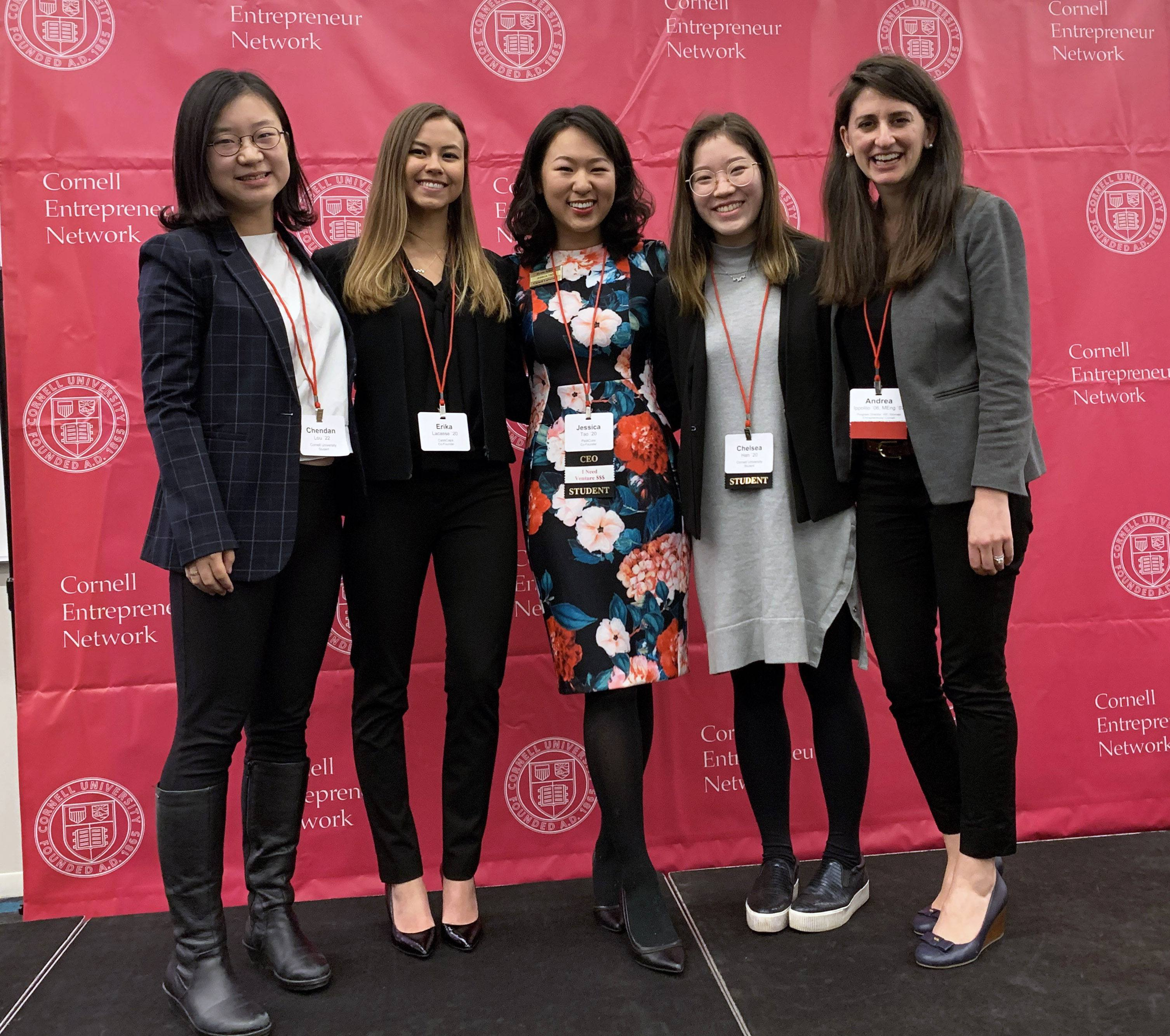 Andrea Ippolito (far right) with members of the W.E. (Women Entrepreneurs) Cornell cohort. Chendan Luo '22 (far left), a sophomore in the College of Engineering, was the youngest Cornell student at the conference. Luo is currently researching a venture that would produce make-up for clients of all genders.
