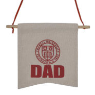 Canvas banner with Cornell seal and Dad