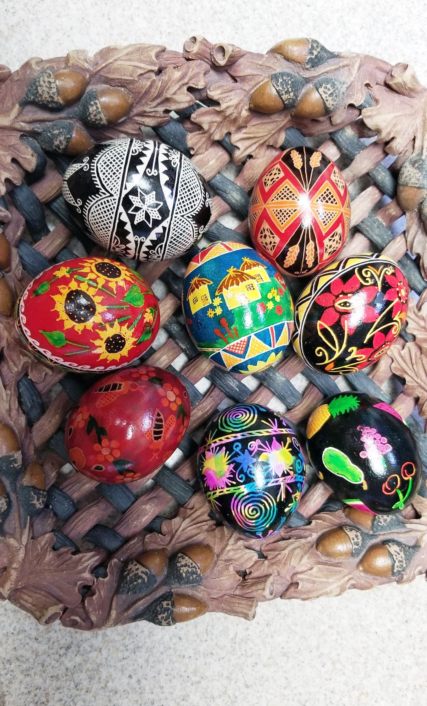 Oksana's favorite activity has been making these traditional Ukrainian Easter eggs with her mother and sister.
