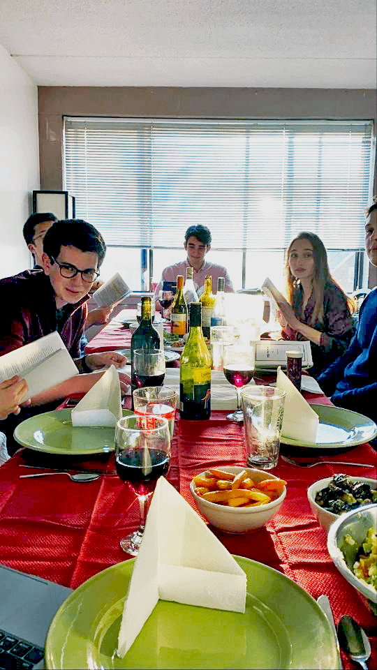 Sofia celebrates her first Passover Seder with her boyfriend and his housemates.