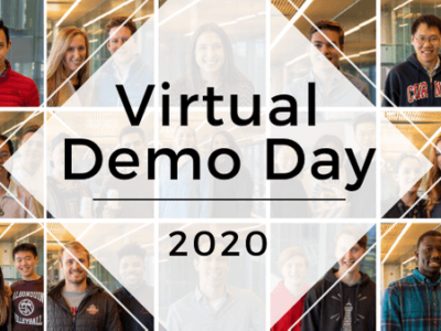 Virtual Demo Day 2020 text overlay on a montage of faces.