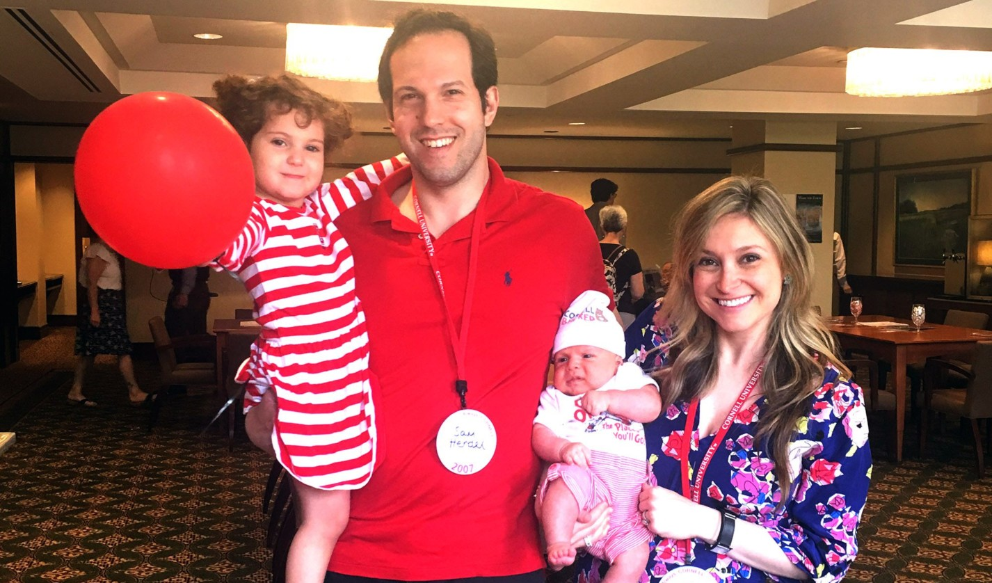 Alissa Hendel '07 with her family at her ten-year Cornell Reunion in 2017. Her five-week-old son, Dylan, won youngest Reunion attendee.