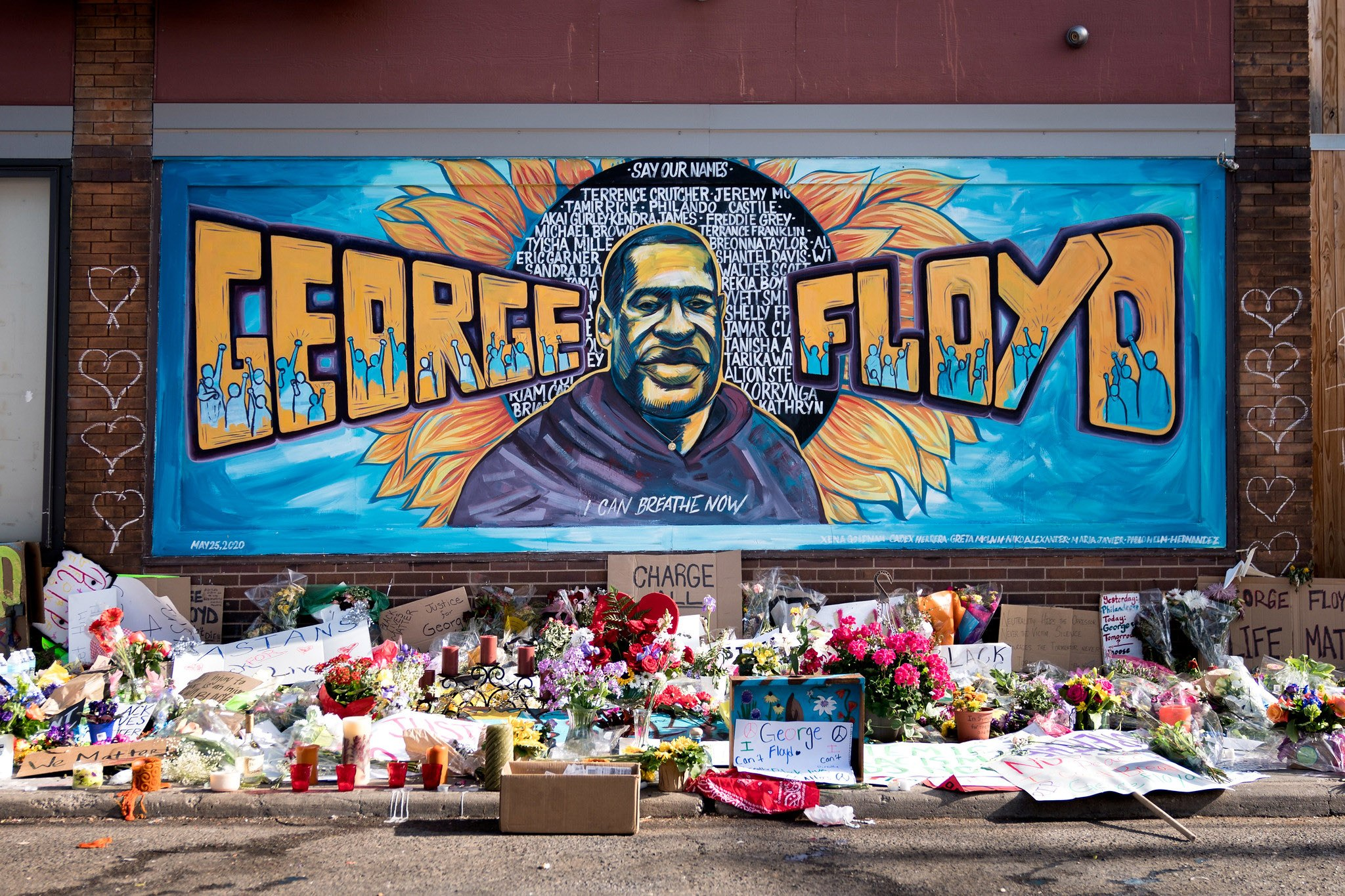 The George Floyd mural outside Cup Foods at Chicago Avenue and East 38th Street in Minneapolis, Minnesota.