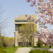 View of the Johnson Museum and Libe slope in the spring