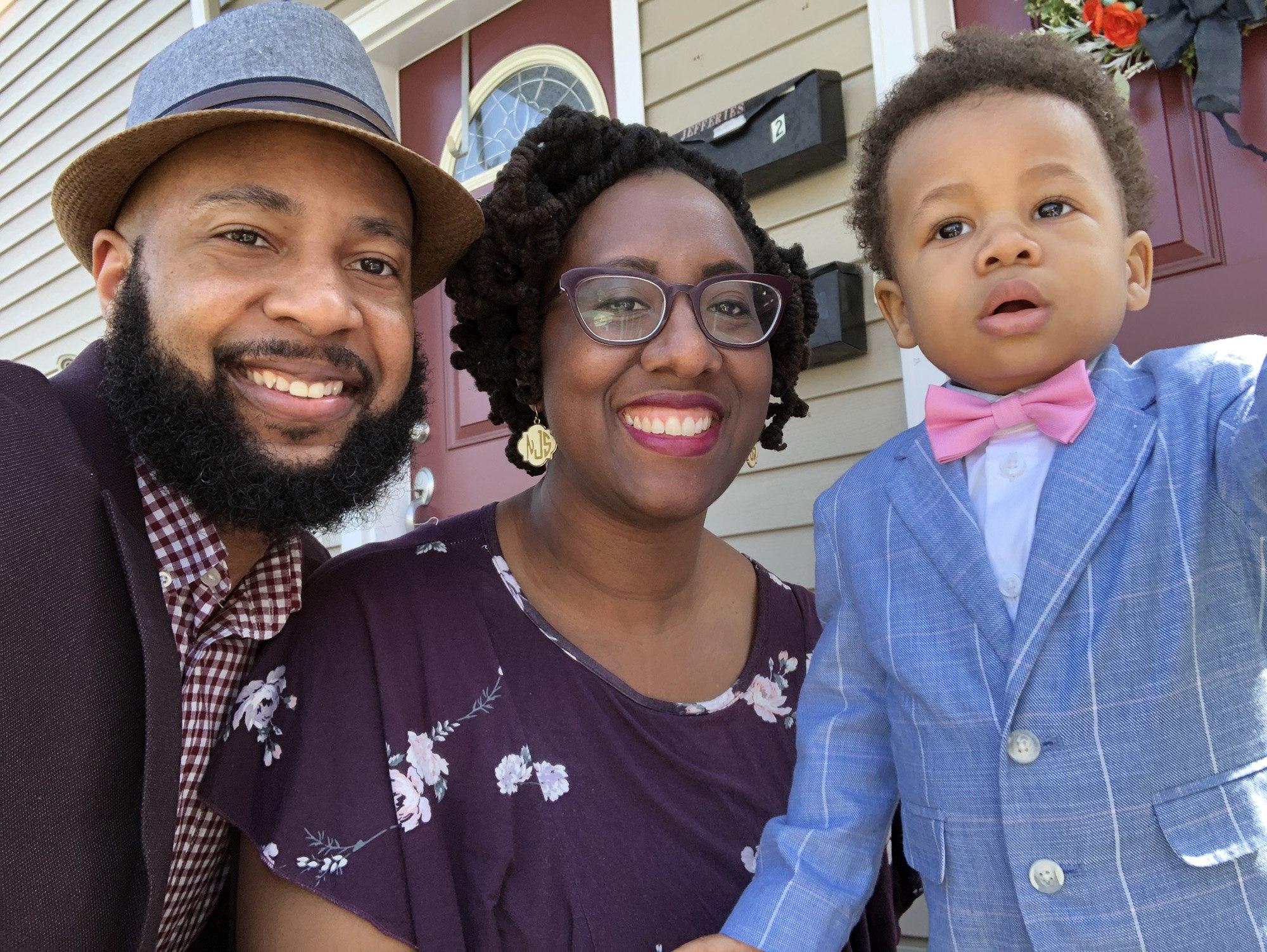 The Jefferies family: Joshua, Sonia, and Josiah.