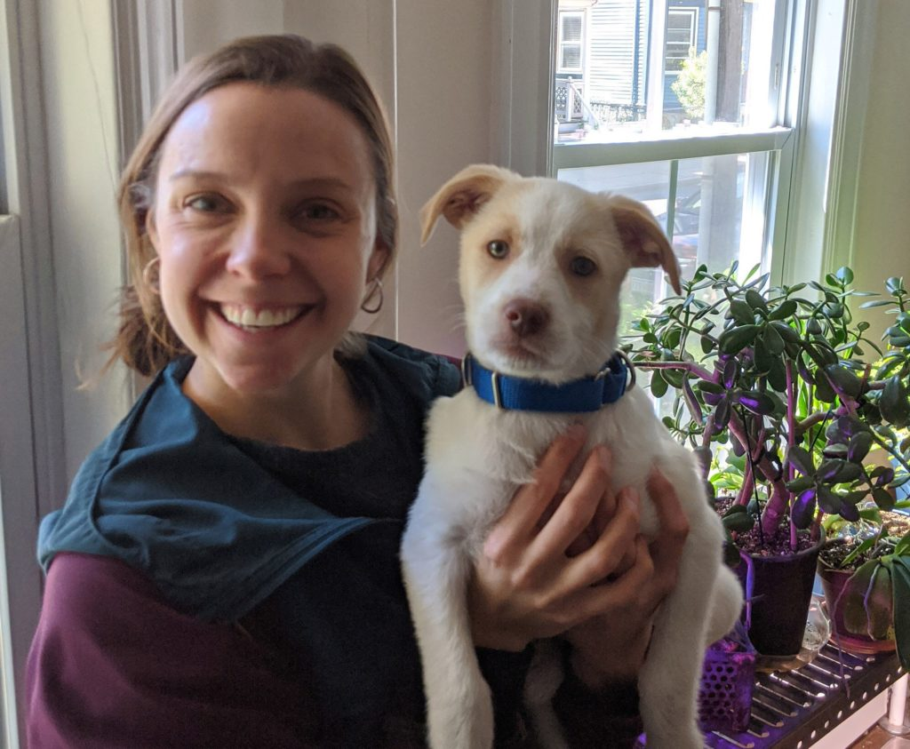 "Hannah and her husband recently adopted a puppy, Pacha. ""It's been fun to go for walks and see how a dog's perspective can bring out some of the beauty I was missing during the pandemic,"" she says."