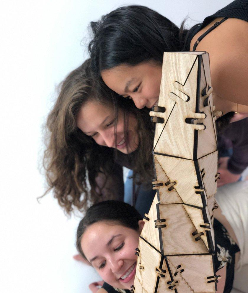 Ashlyn working in the architecture studio with Gabi Castro '23 and Juliana Zalzman '23.