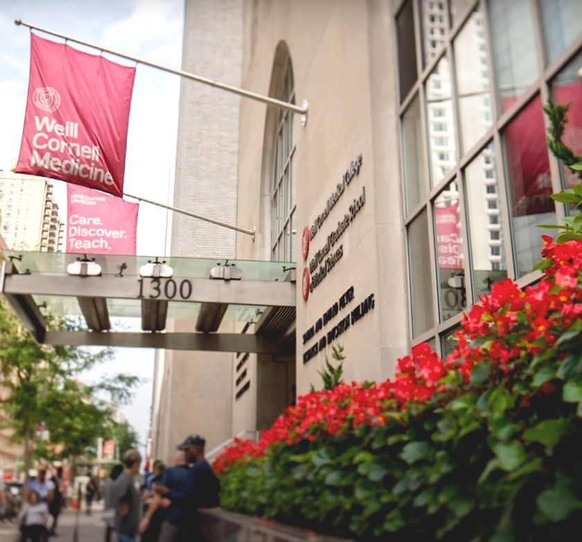 Entrance to Weill Cornell Medicine campus in New York City
