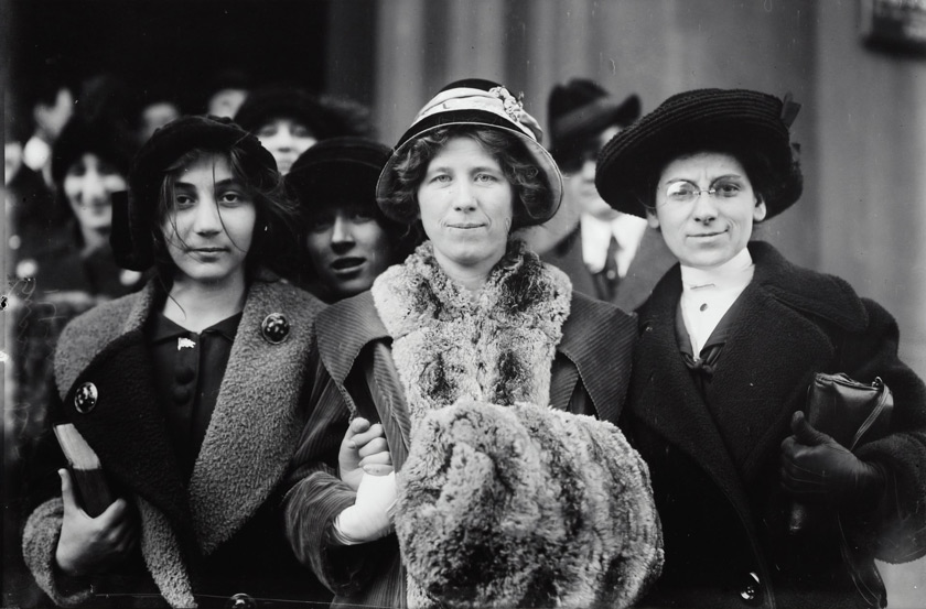"Suffrage and labor activist Flora Dodge ""Fola"" La Follette (1882-1970), social reformer and missionary Rose Livingston, and a young striker during a garment strike in New York City in 1913. Courtesy of Library of Congress Prints & Photographs Division."