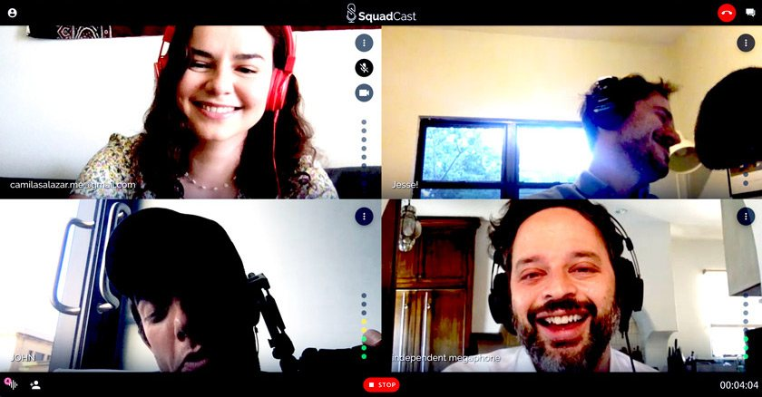 Camila Salazar producing in times of COVID-19. A screenshot of a remote recording for Good One. Clockwise from top left: Camila, Jesse David Fox (host), Nick Kroll (Big Mouth, Kroll Show, Oh Hello), and John Mulaney (John Mulaney and the Sack Lunch Bunch, Oh Hello, Big Mouth).